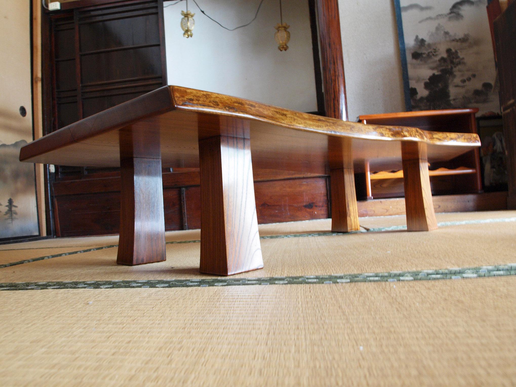 拭き漆欅座卓1の脚部画像