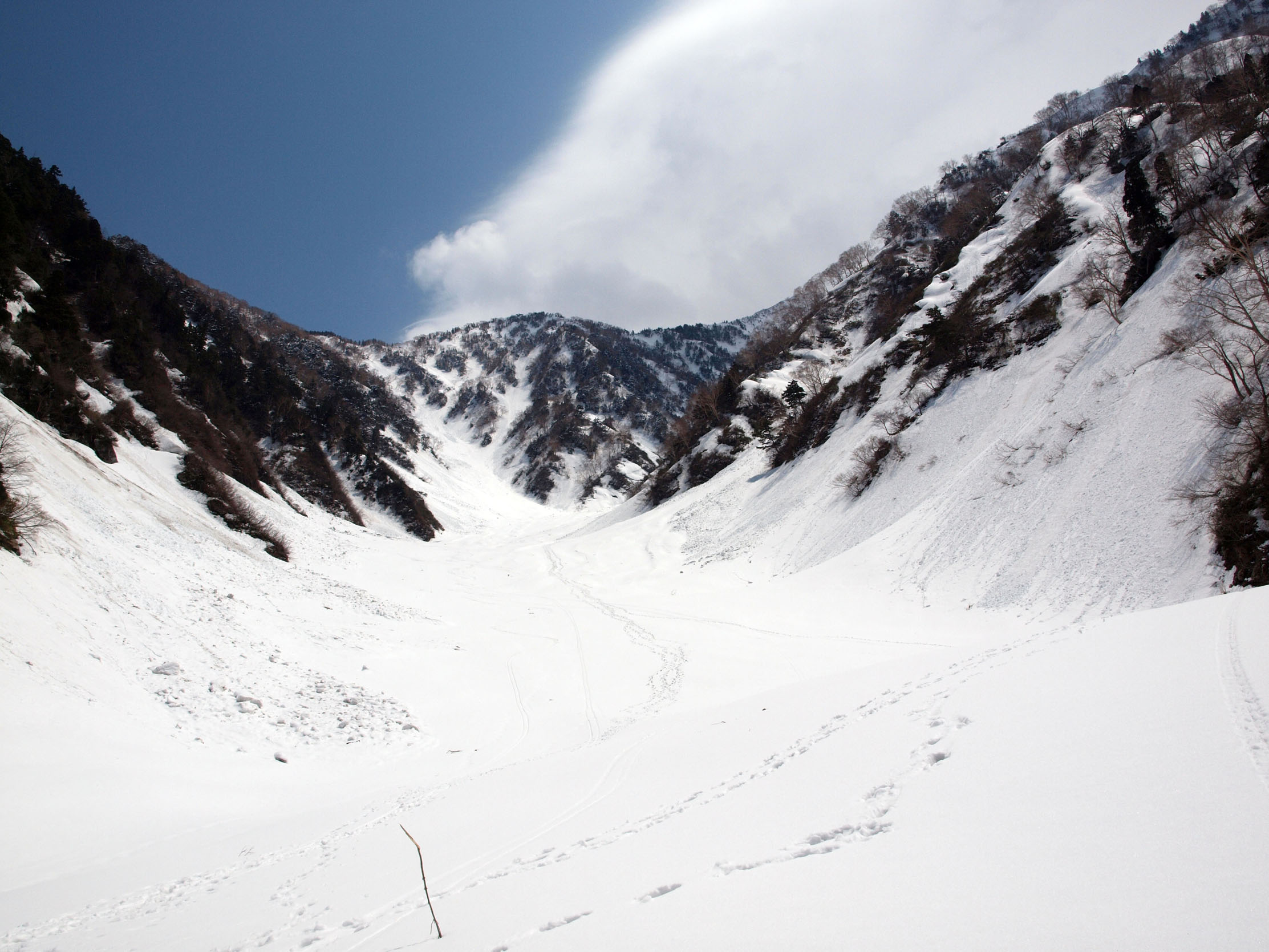 1250m付近、毛勝谷・大明神沢出合より毛勝谷